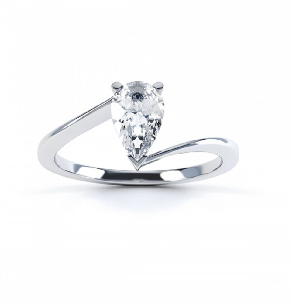 Pear shaped Diamond Engagement ring Twist, Top