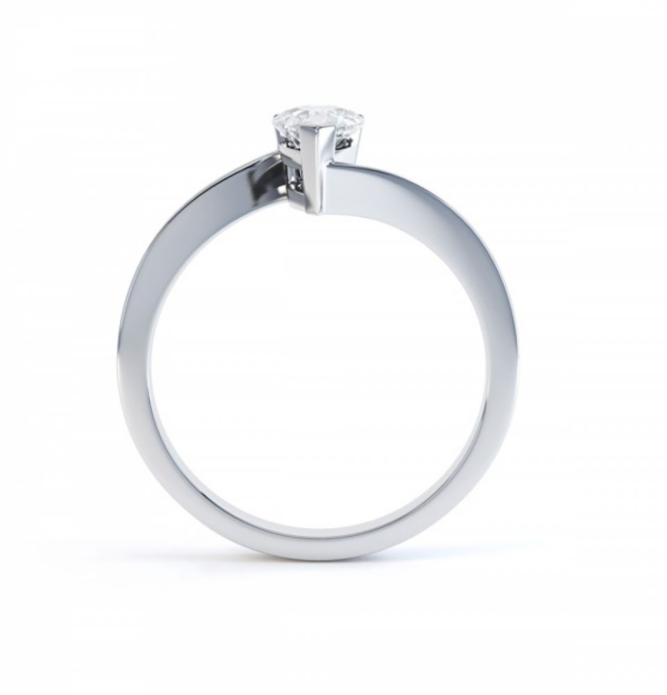 Pear shaped Diamond Engagement ring Twist, Side