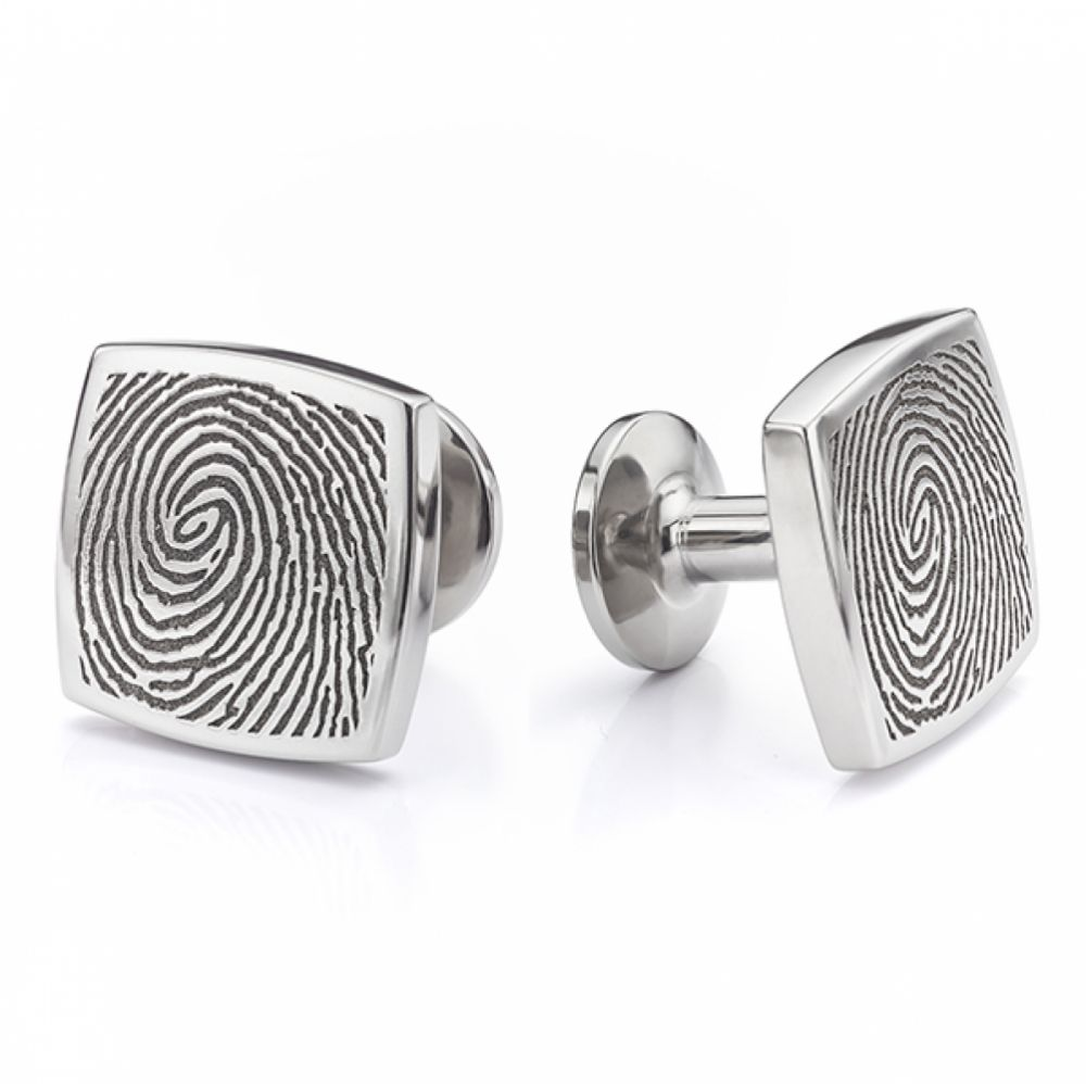 Mens square fingerprint cufflinks in titanium