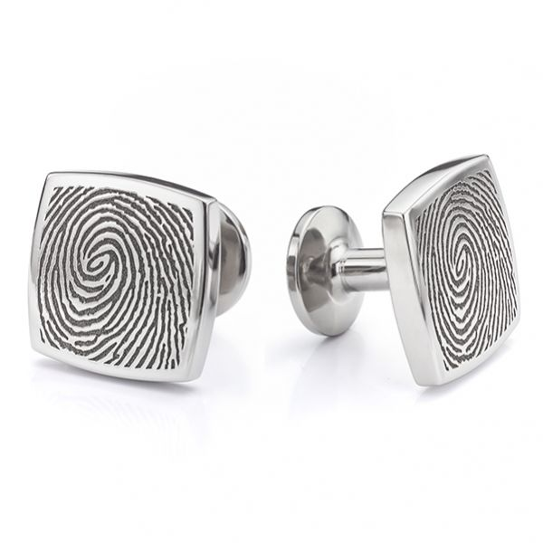 Square Titanium Fingerprint Cufflinks Main Image