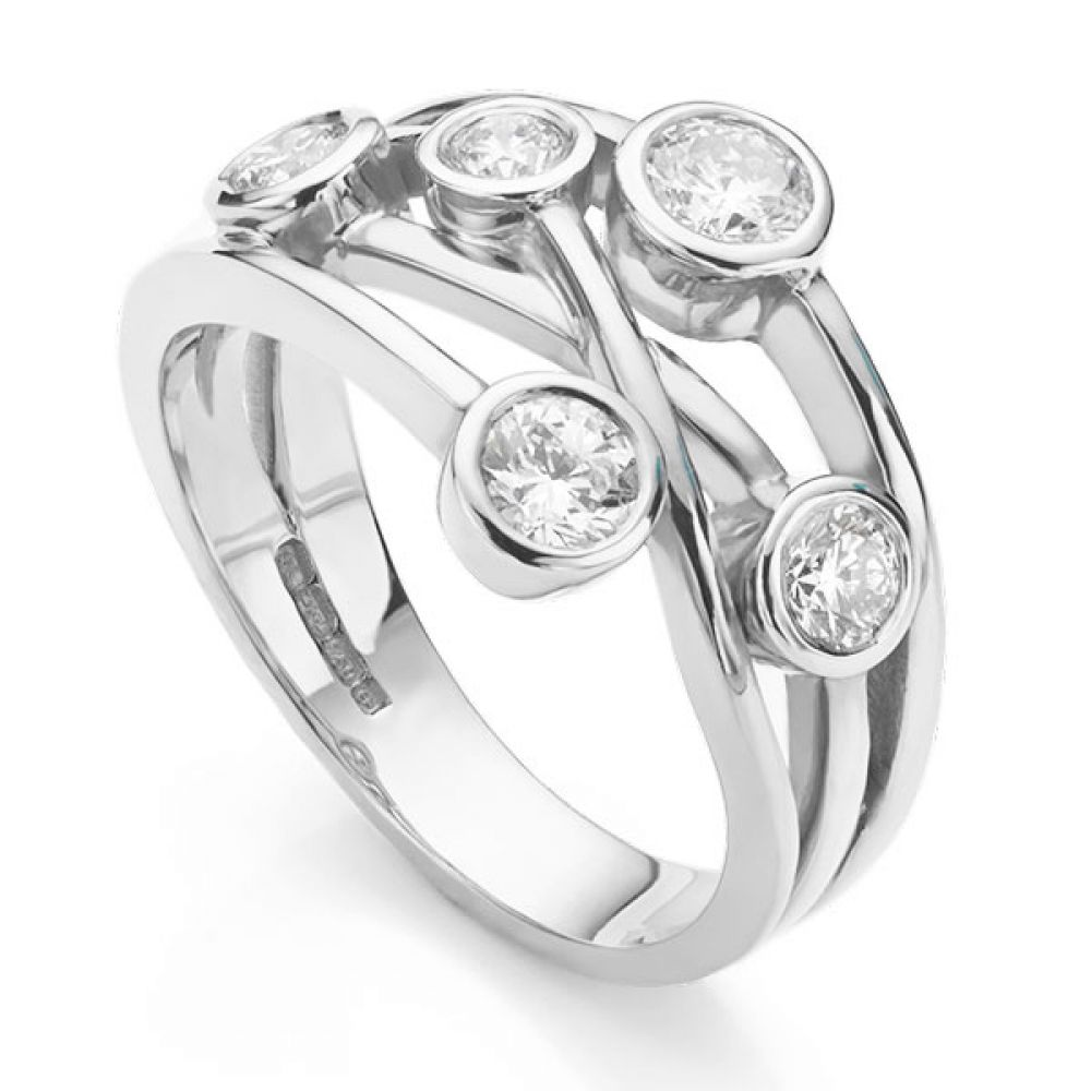 The Anniversary Ring - Diamond Bubble Ring White Gold Perspective View