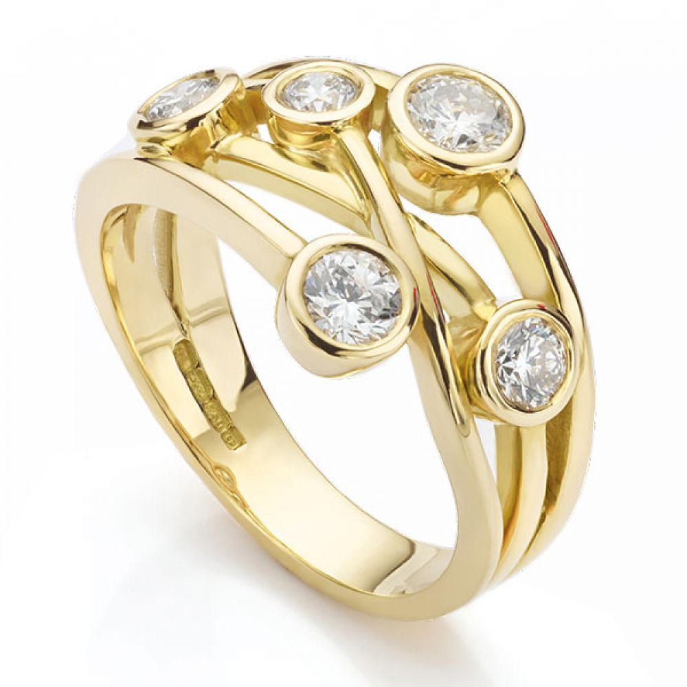 The Anniversary Ring - Bubble Ring Yellow Gold Perspective View