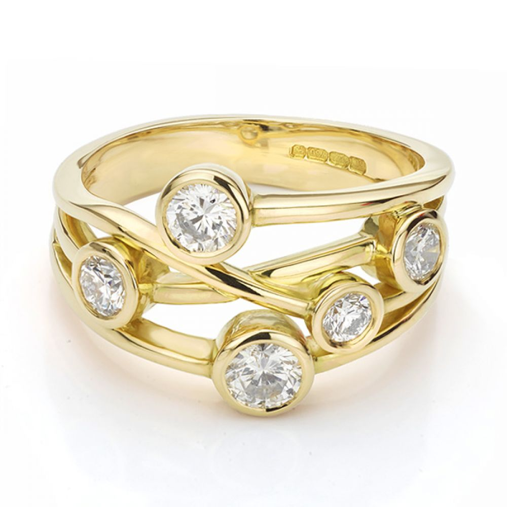 The Anniversary Ring - Bubble Ring Yellow Gold Front View