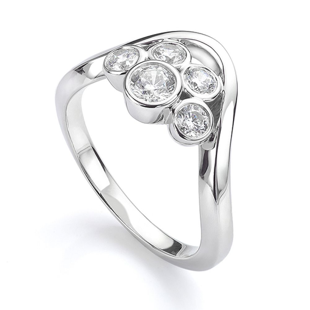Five stone diamond bubble ring in white gold perspective view