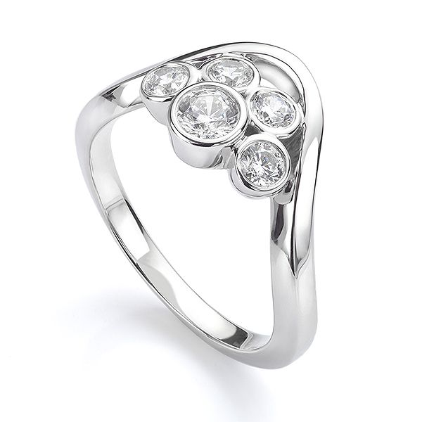Odessa 5 Stone Diamond Bubble Ring Main Image