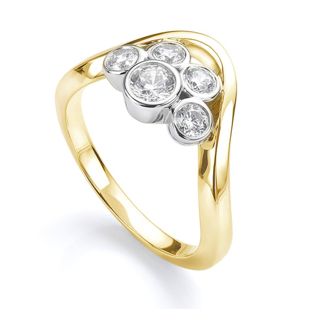 Five stone diamond bubble ring in yellow gold perspective view