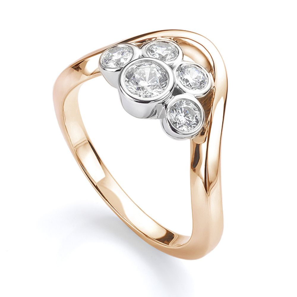 Five stone diamond bubble ring in rose gold perspective view