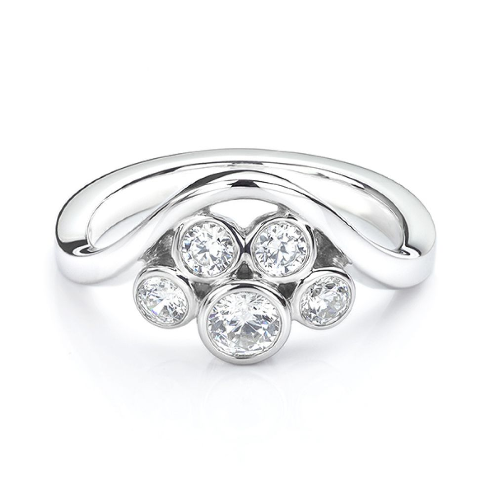 Five stone diamond bubble ring in white gold side view