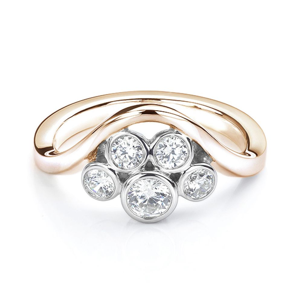 Five stone diamond bubble ring in rose gold side view