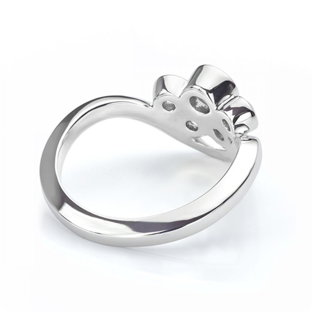 Five stone diamond bubble ring in white gold back view