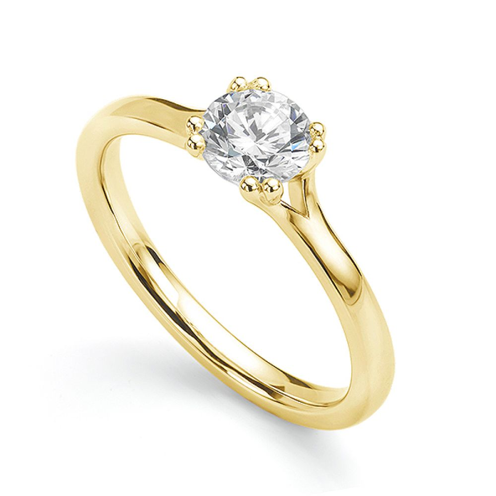 Yellow gold double claw engagement ring main view