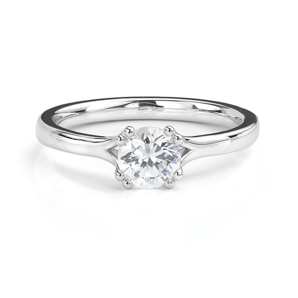 White gold double claw engagement ring front view