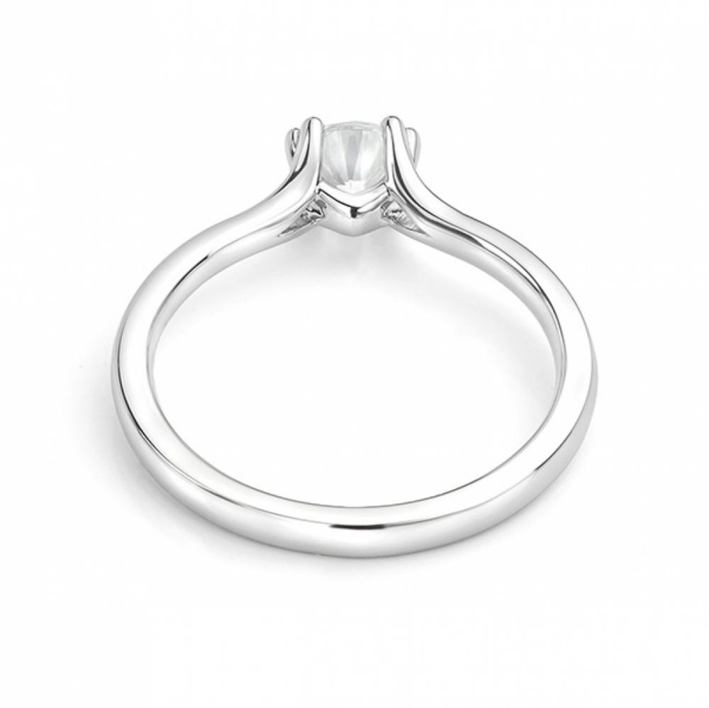 White gold double claw engagement ring back view