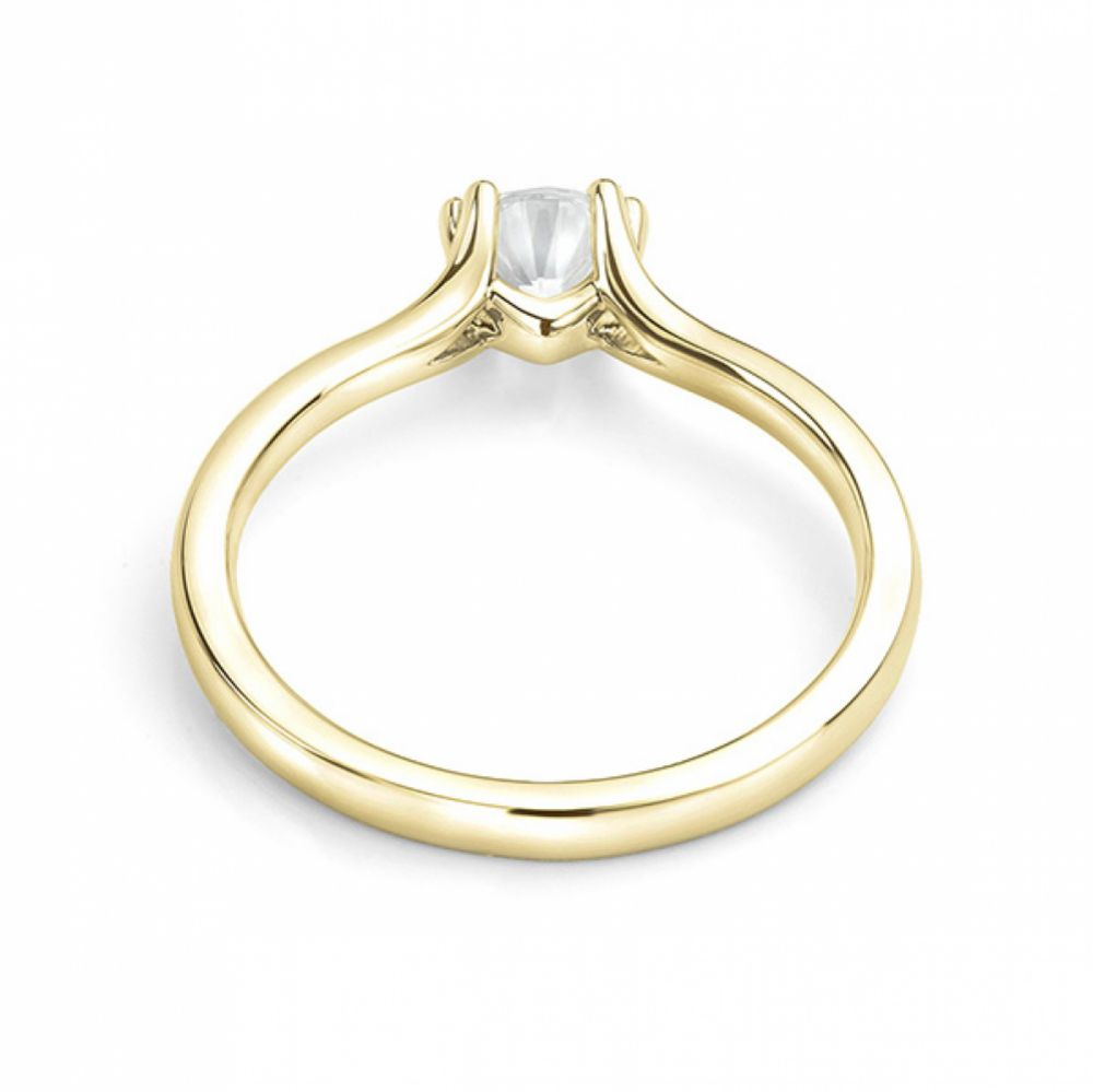 Yellow gold double claw engagement ring back view