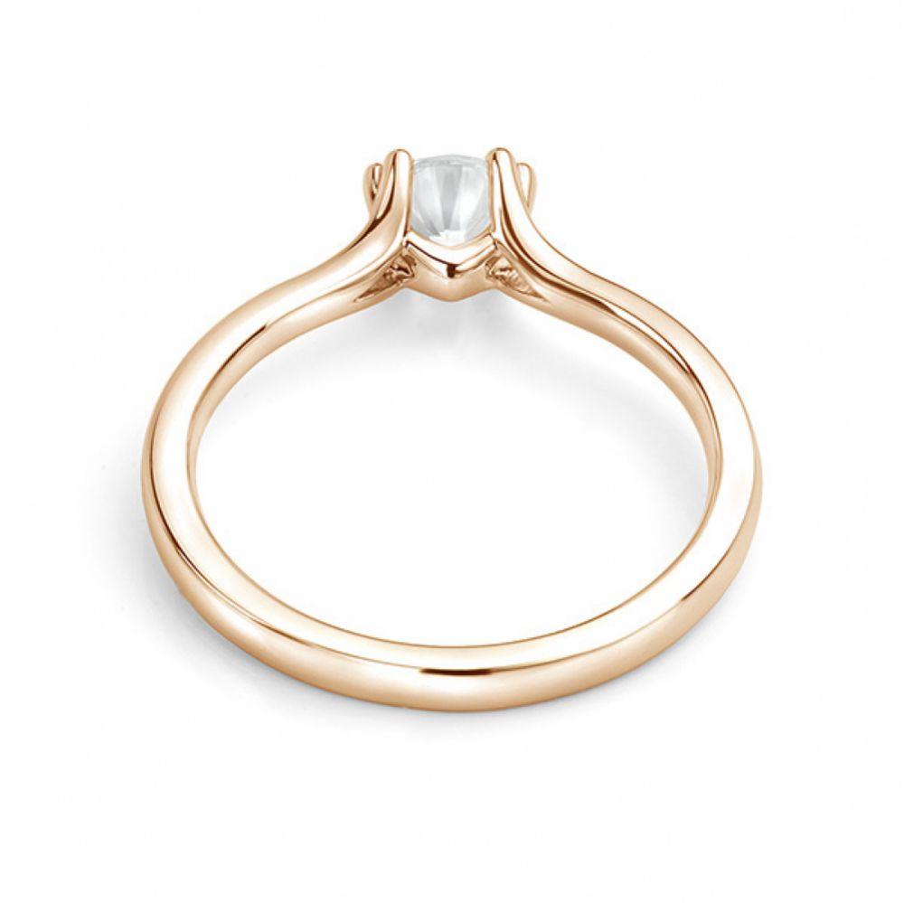 Rose gold double claw engagement ring back view