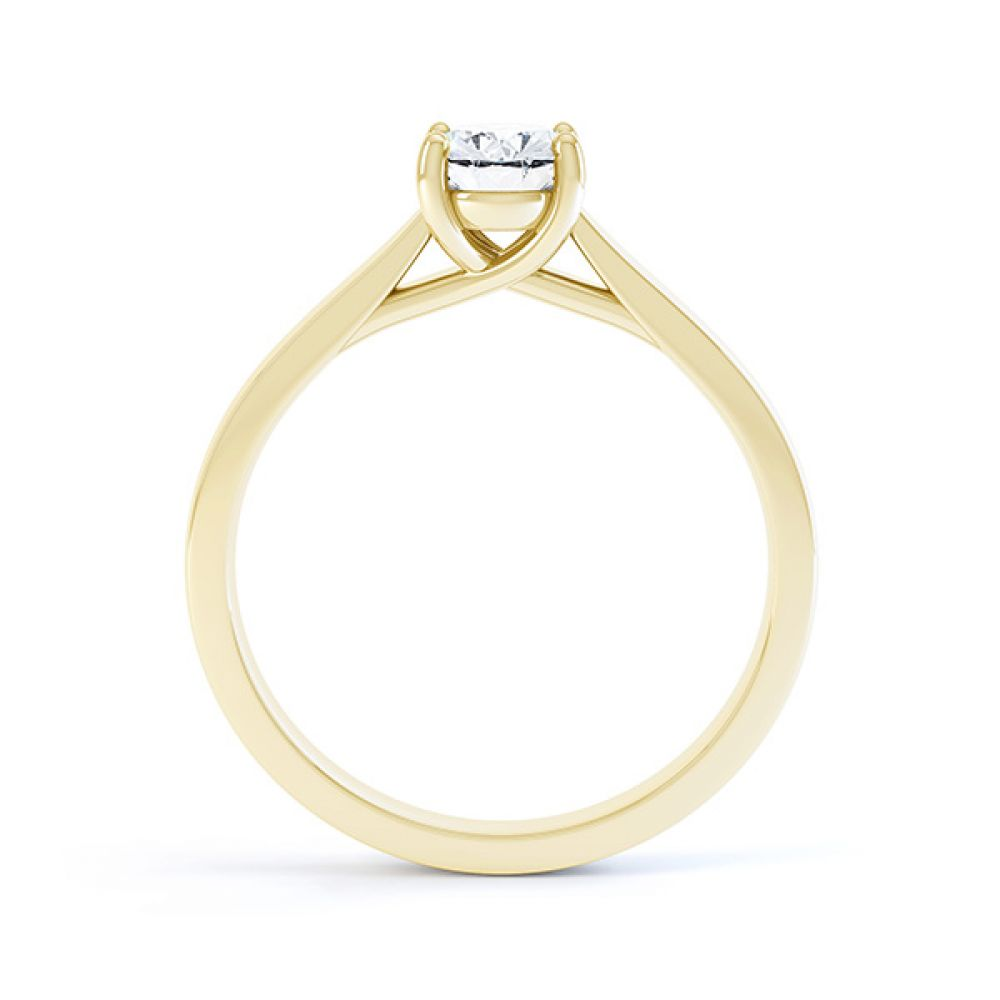 Modern Classic 4 Claw Oval Solitaire Engagement Ring Side View In Yellow Gold
