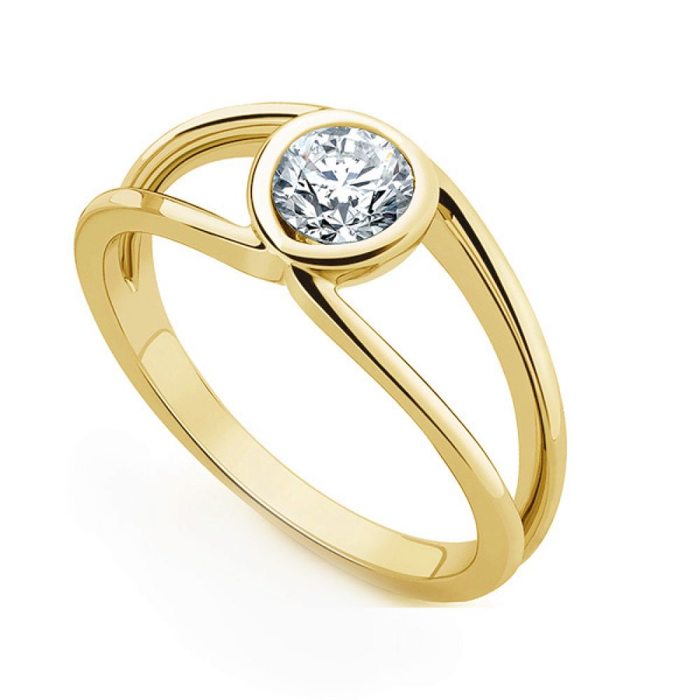 Infinity Double Shoulder Diamond Solitaire Ring In Yellow Gold