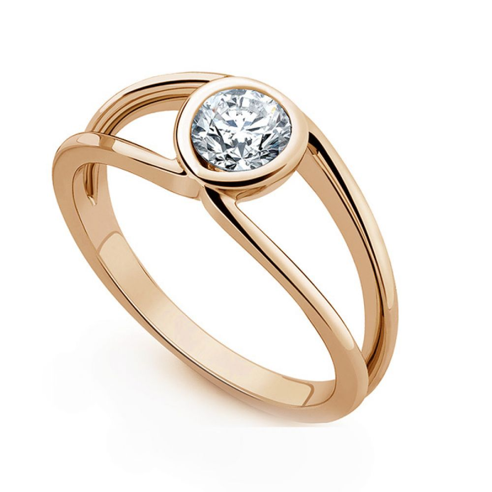 Infinity Double Shoulder Diamond Solitaire Ring In Rose Gold