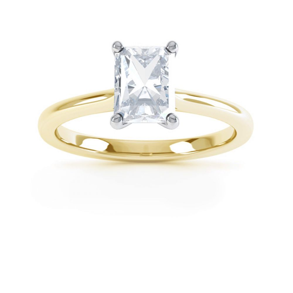 Rectangular Radiant Diamond Solitaire Engagement Ring Front View In Yellow Gold