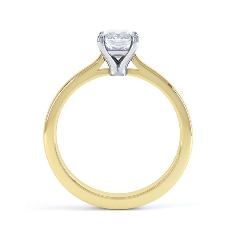 Rectangular Radiant Diamond Solitaire Engagement Ring Side View