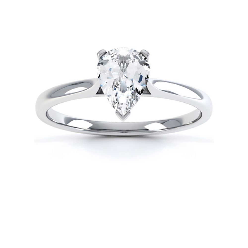 3 Claw Pear Diamond Engagement Ring Front View