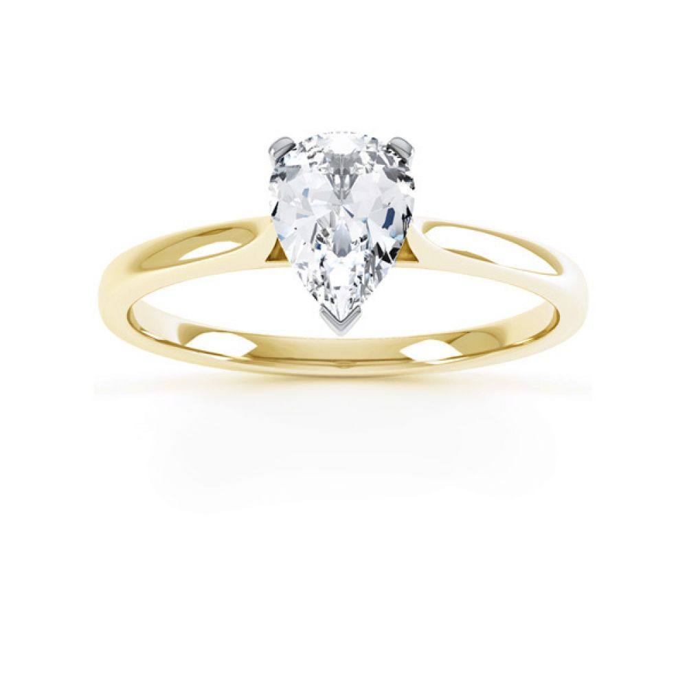 3 Claw Pear Diamond Engagement Ring Front View In Yellow Gold