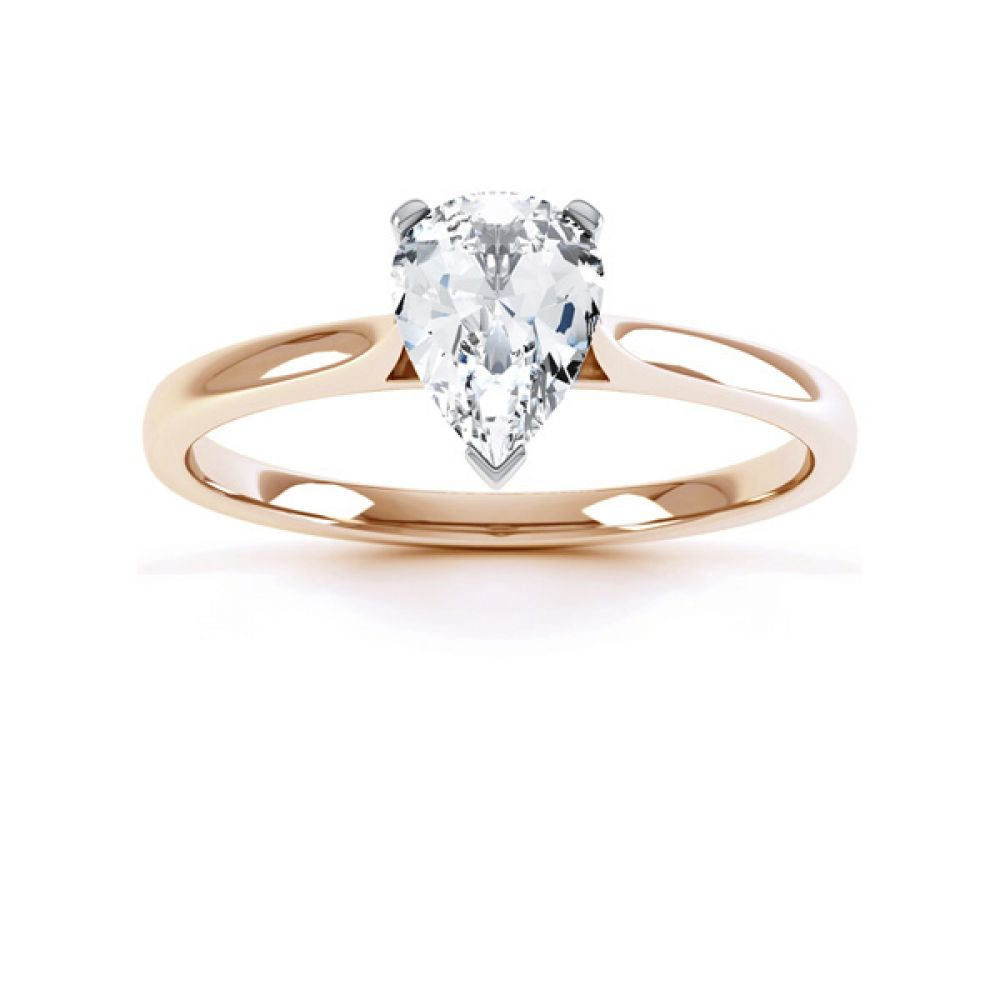 3 Claw Pear Diamond Engagement Ring Front View In Rose Gold