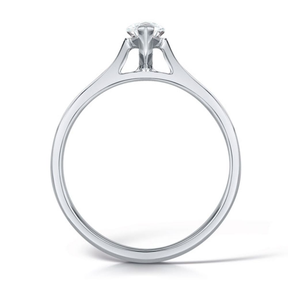 2 Claw Marquise Diamond Solitaire Ring Side View