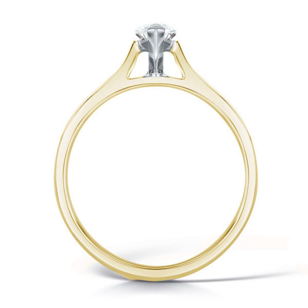 2 Claw Marquise Diamond Solitaire Ring Side View In Yellow Gold
