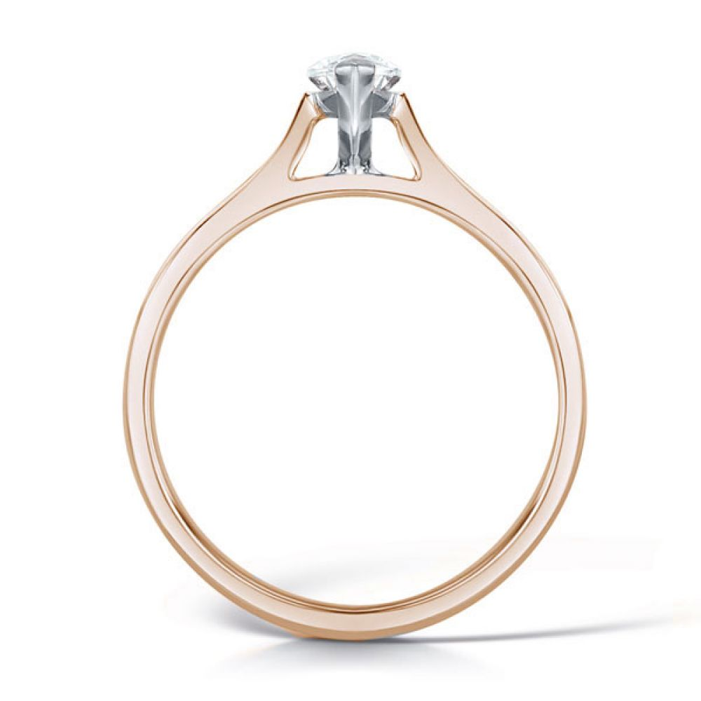 2 Claw Marquise Diamond Solitaire Ring Side View In Rose Gold