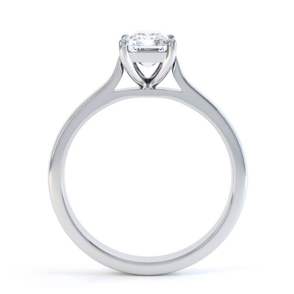 Simple 4 Claw Emerald Diamond Solitaire Ring Side View