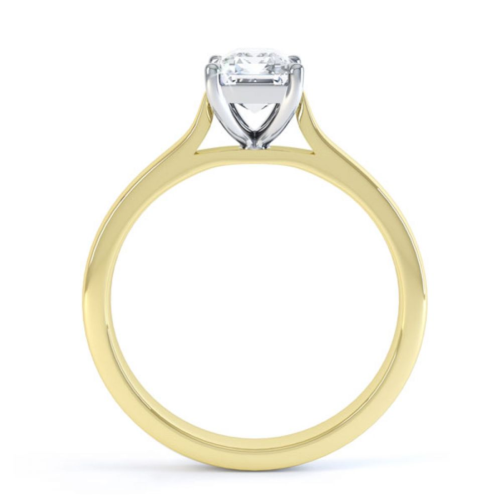 Simple 4 Claw Emerald Diamond Solitaire Ring Side View In Yellow Gold