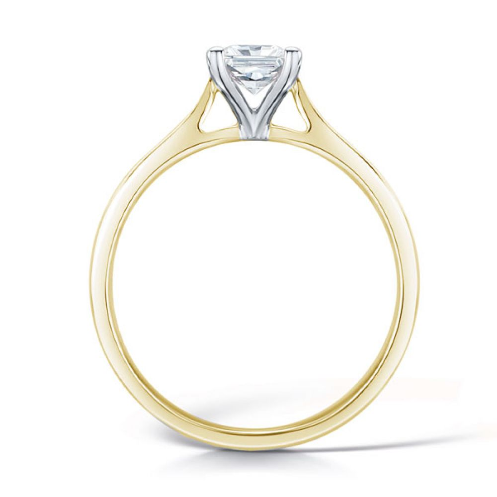 Wedfit Four Claw Princess Diamond Ring Side View In Yellow Gold