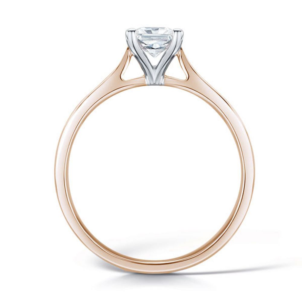 Wedfit Four Claw Princess Diamond Ring Side View In Rose Gold