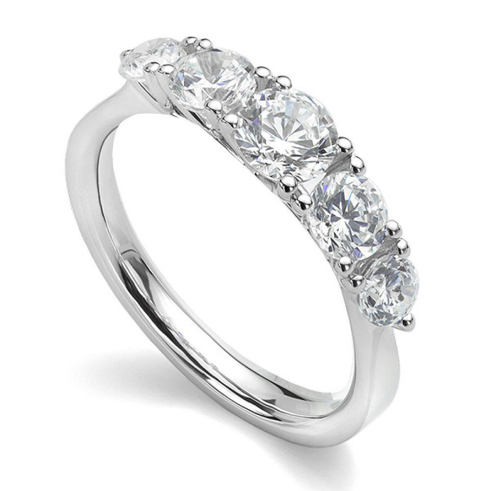 5 Stone Diamond Trellis Ring Main View White Gold