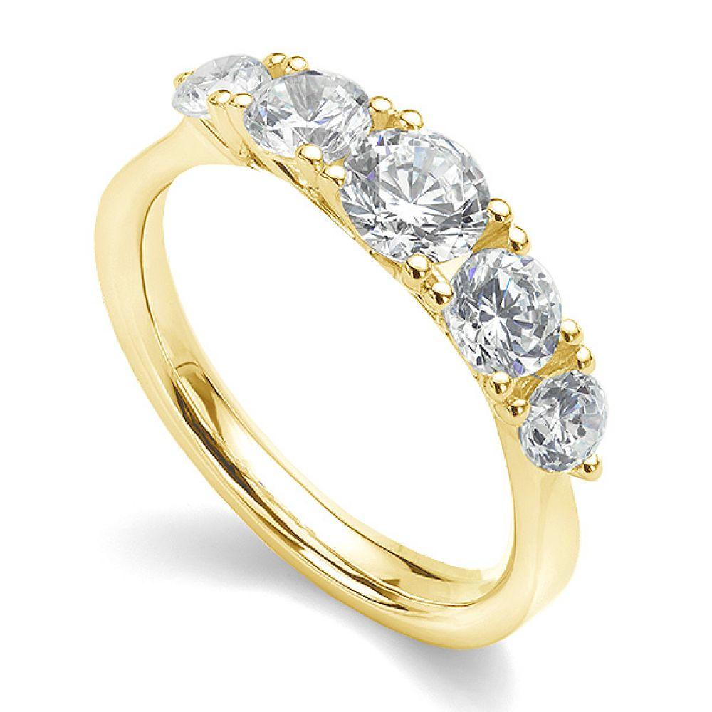5 Stone Diamond Trellis Ring Main View Yellow Gold