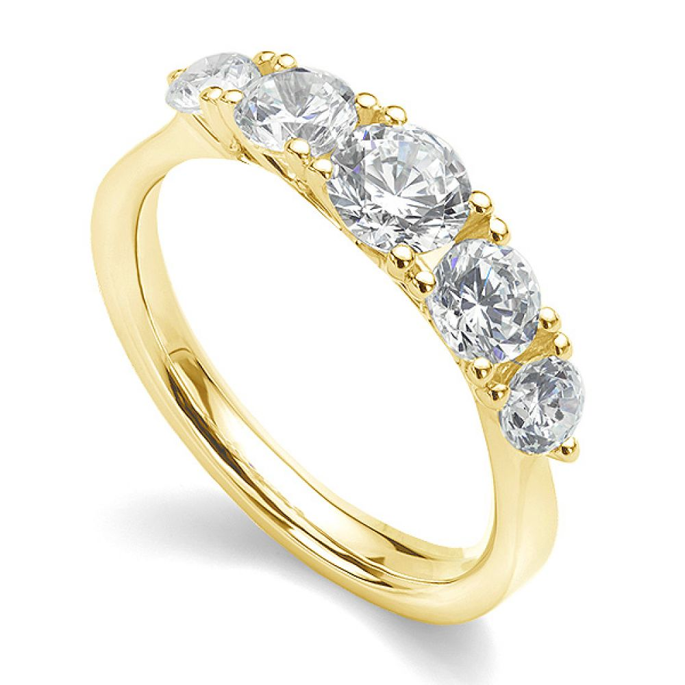5 Stone Diamond Trellis Ring Main View Yellow Gold