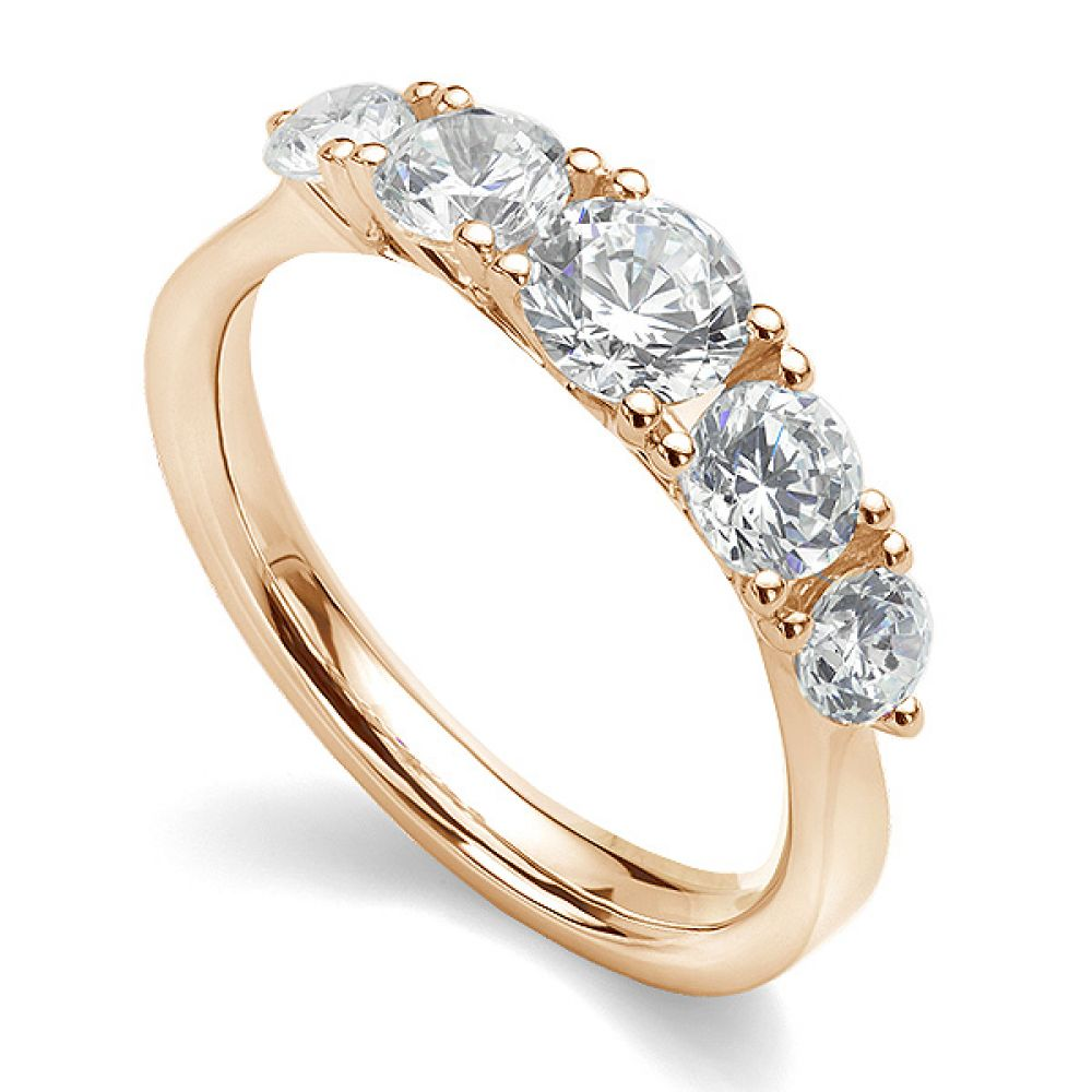 5 Stone Diamond Trellis Ring Main View Rose Gold