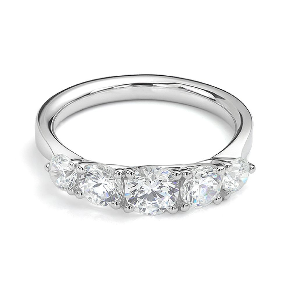 5 Stone Diamond Trellis Ring Front View White Gold