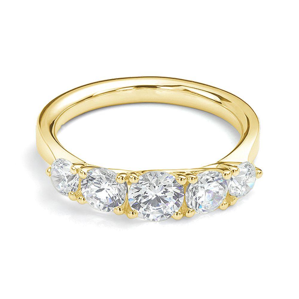 5 Stone Diamond Trellis Ring Front View Yellow Gold