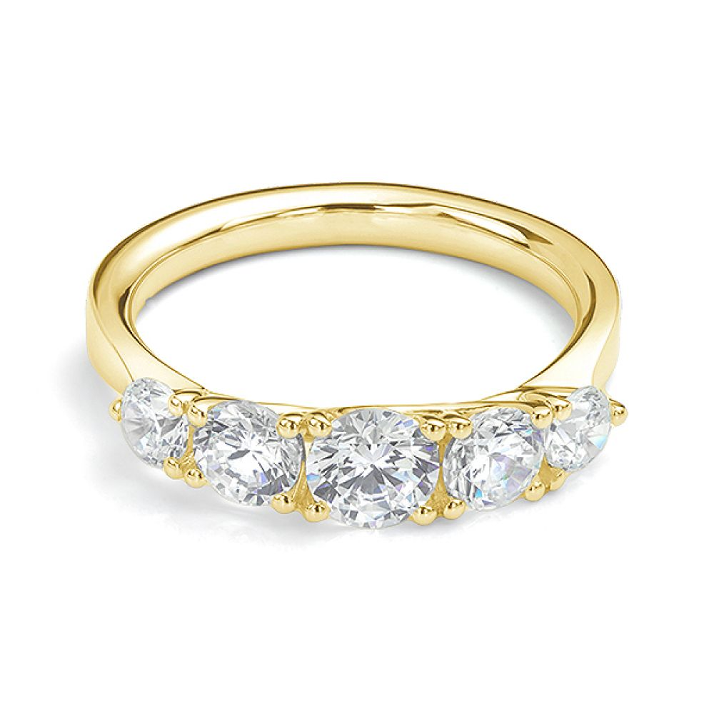 5 Stone Diamond Trellis Ring Front View Yellow Gold