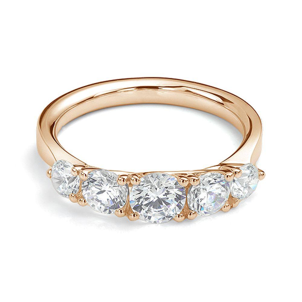 5 Stone Diamond Trellis Ring Front View Yellow Gold5 Stone Diamond Trellis Ring Front View Rose Gold