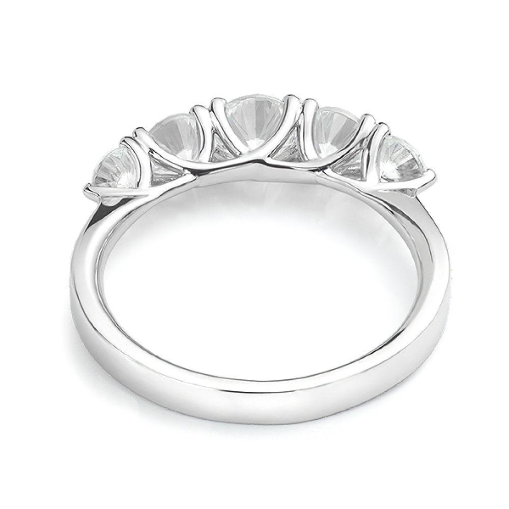 5 Stone Diamond Trellis Ring Front View Yellow Gold5 Stone Diamond Trellis Ring Rear View White Gold