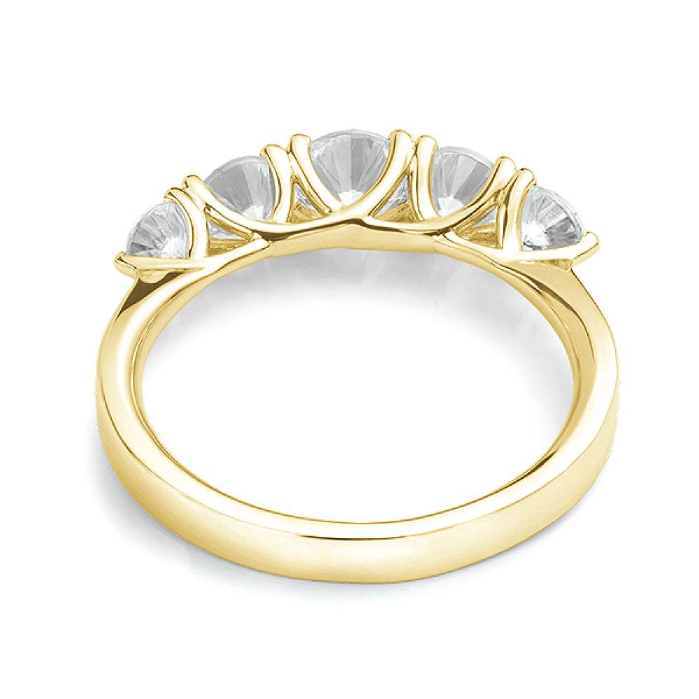 5 Stone Diamond Trellis Ring Reart View Yellow Gold5 Stone Diamond Trellis Ring Rear View Yellow Gold