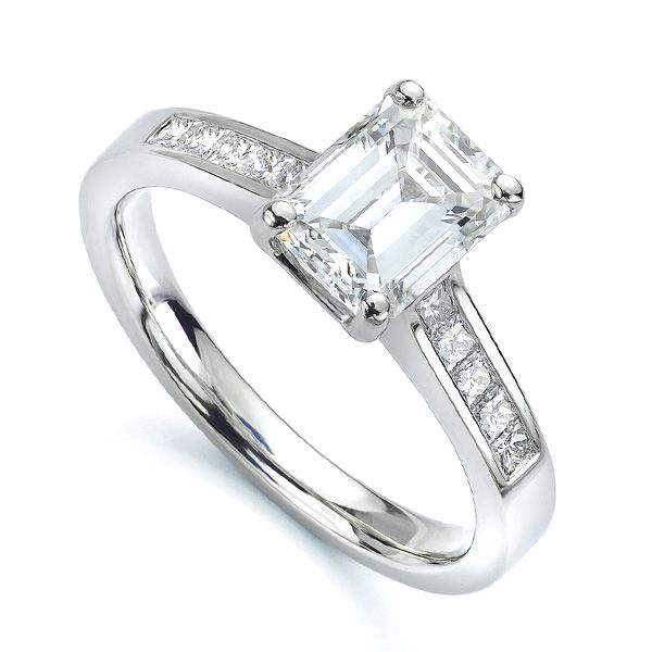 Emerald Cut Diamond Shoulder Engagement Ring Main Image