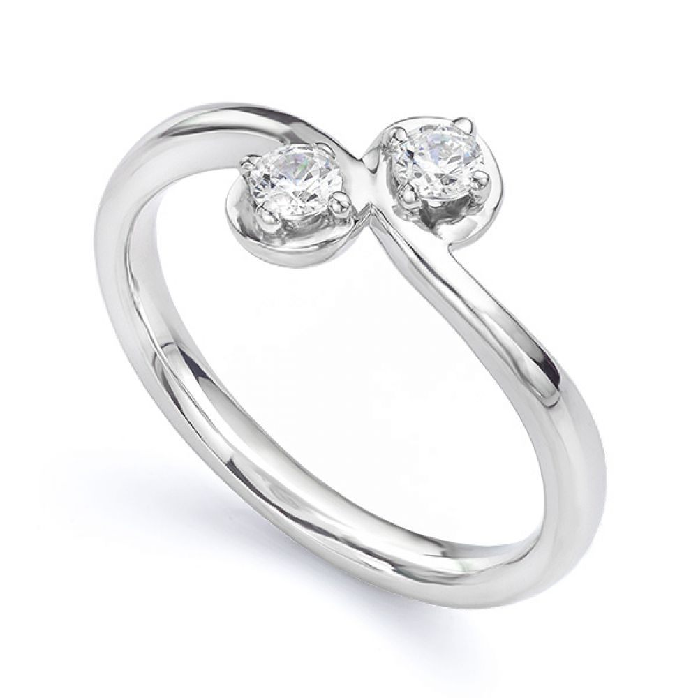 Two stone diamond twist ring Autumn white gold main view