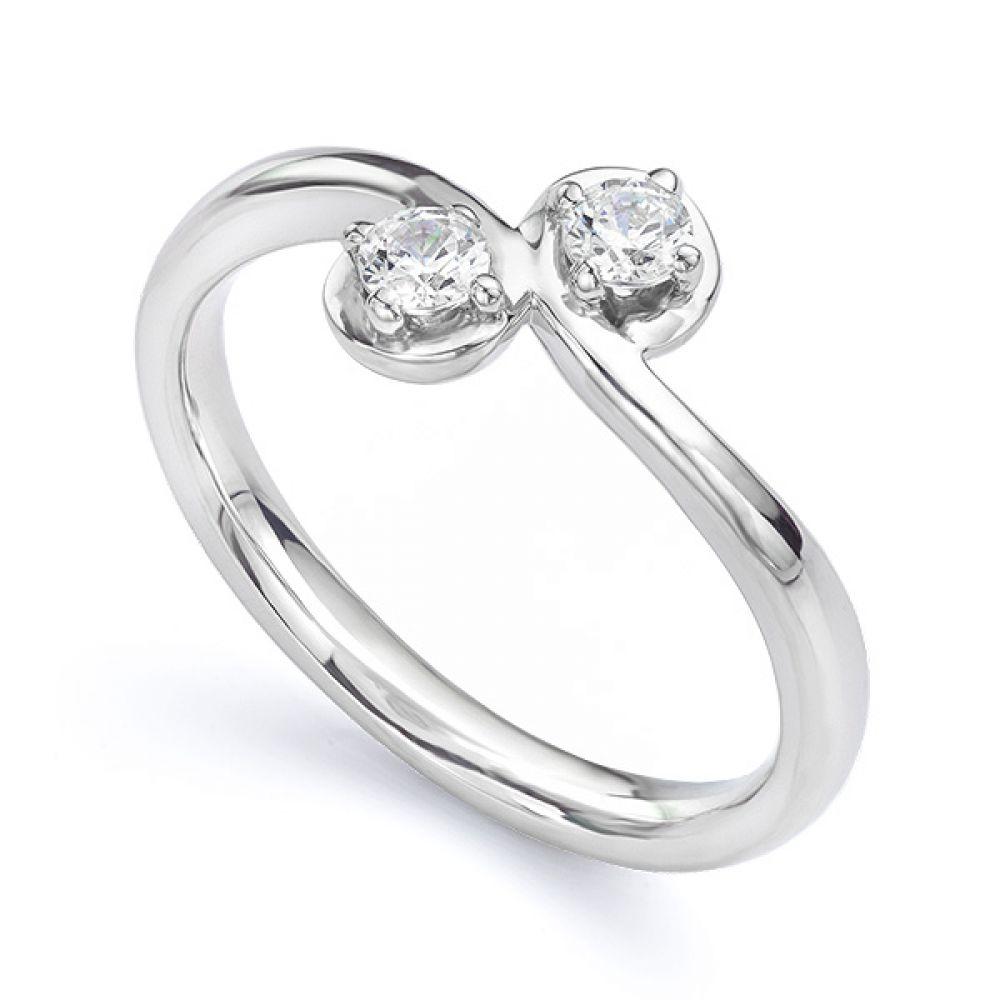 Two stone diamond twist ring Autumn white gold main view