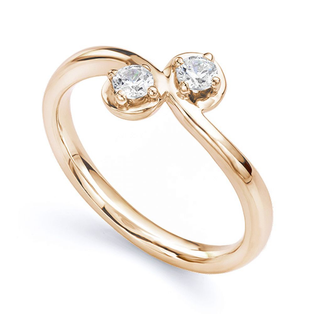Two stone diamond twist ring Autumn rose gold main perspective view