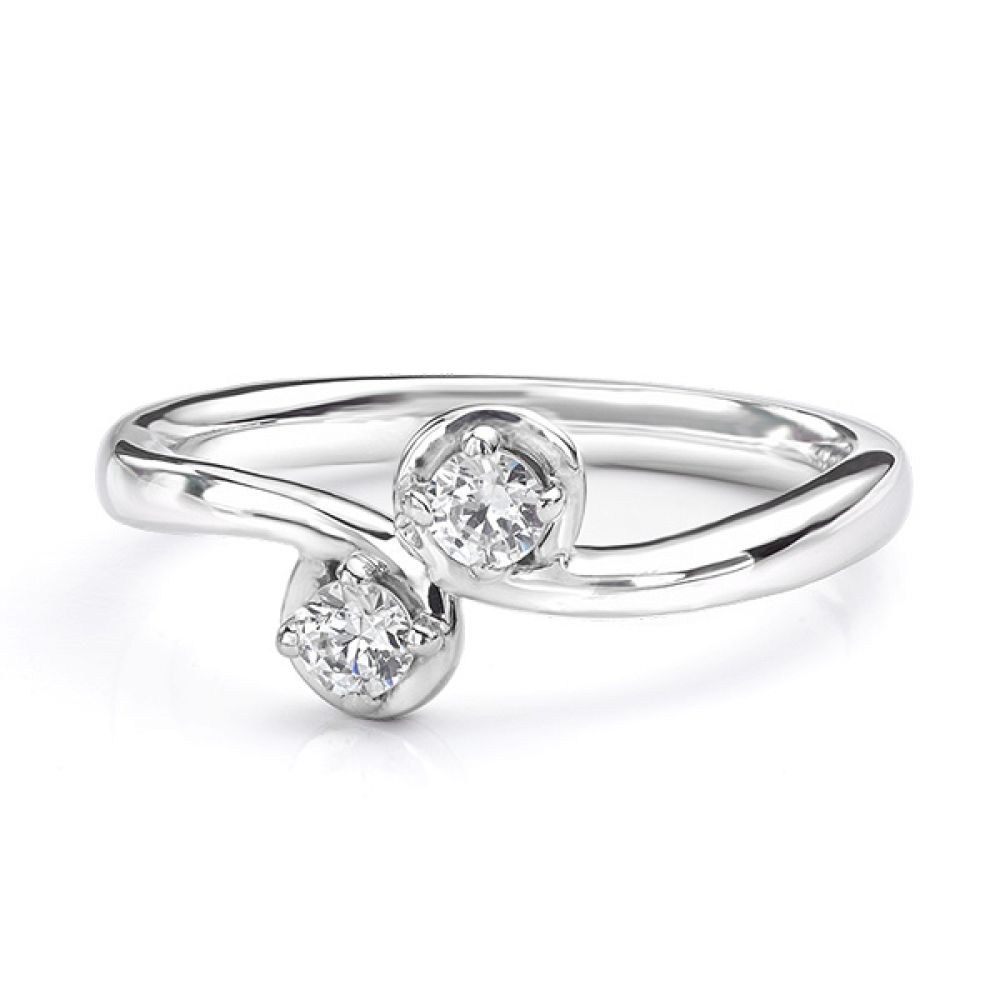Two stone diamond twist ring Autumn white gold view of ring lying down