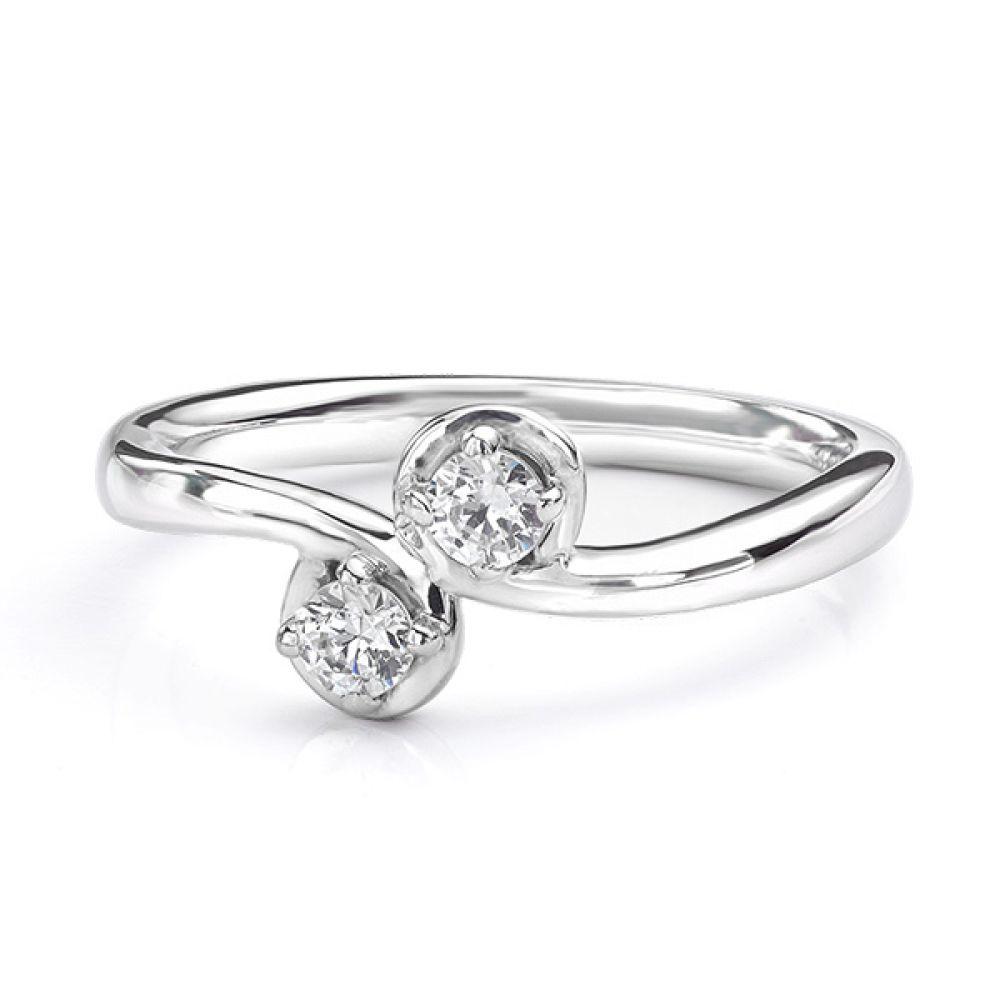Two stone diamond twist ring Autumn white gold view of ring lying down